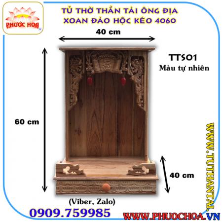 Tủ Thần Tài-Ông Địa Gỗ Xoan Đào Hộc Kéo 40cm
