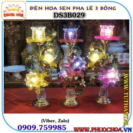 ĐÈN HOA SEN THỦY TINH MÀU 029 BÓNG HALOGEN 3 BÔNG