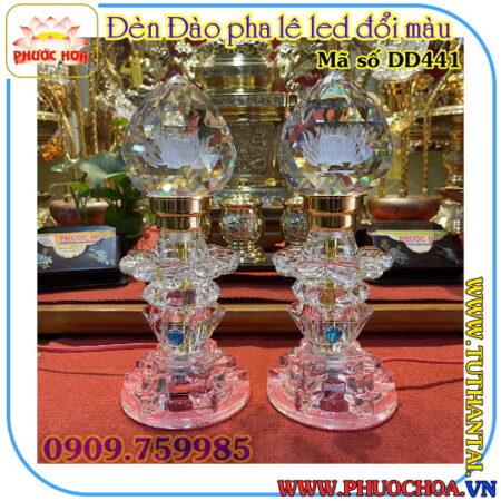 Đèn đào pha lê hoa sen (LED) trang trí bàn thờ MS 441D
